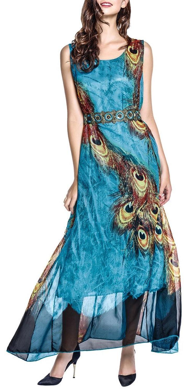Wantdo Women\'s Peacock Beach Dress Maxi Dress Bohemian Plus Size ...