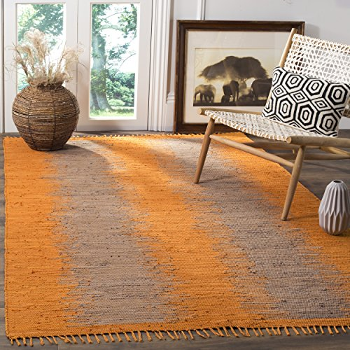 Safavieh Montauk Collection MTK718R Handmade Flatweave Orange Cotton Area Rug (8′ x 10′)