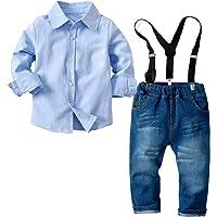 Haokaini Conjunto de Trajes de Caballero para bebés bebés niños pequeños Camiseta Tirantes Pajarita Conjunto de Ropa