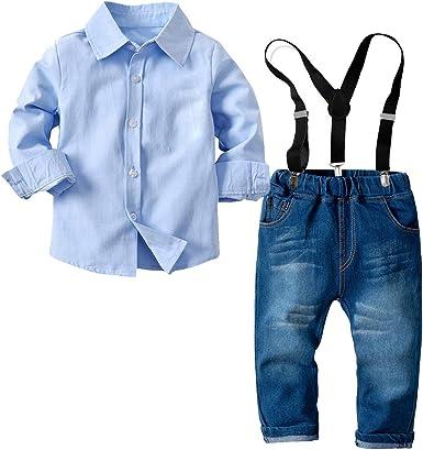Haokaini Conjunto de Trajes de Caballero para bebés bebés niños pequeños Camiseta Tirantes Pajarita Conjunto de Ropa: Amazon.es: Ropa y accesorios