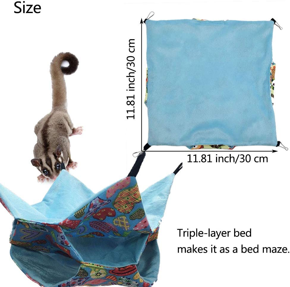 Oncpcare Small Pet Cage Hammock Sugar Glider Triple Bed Hammock Rat Bed Guinea Pig Cage Accessories Bedding Cozy Ferret Tunnel Cave Small Animals Bed for Chinchilla Parrot Hamster