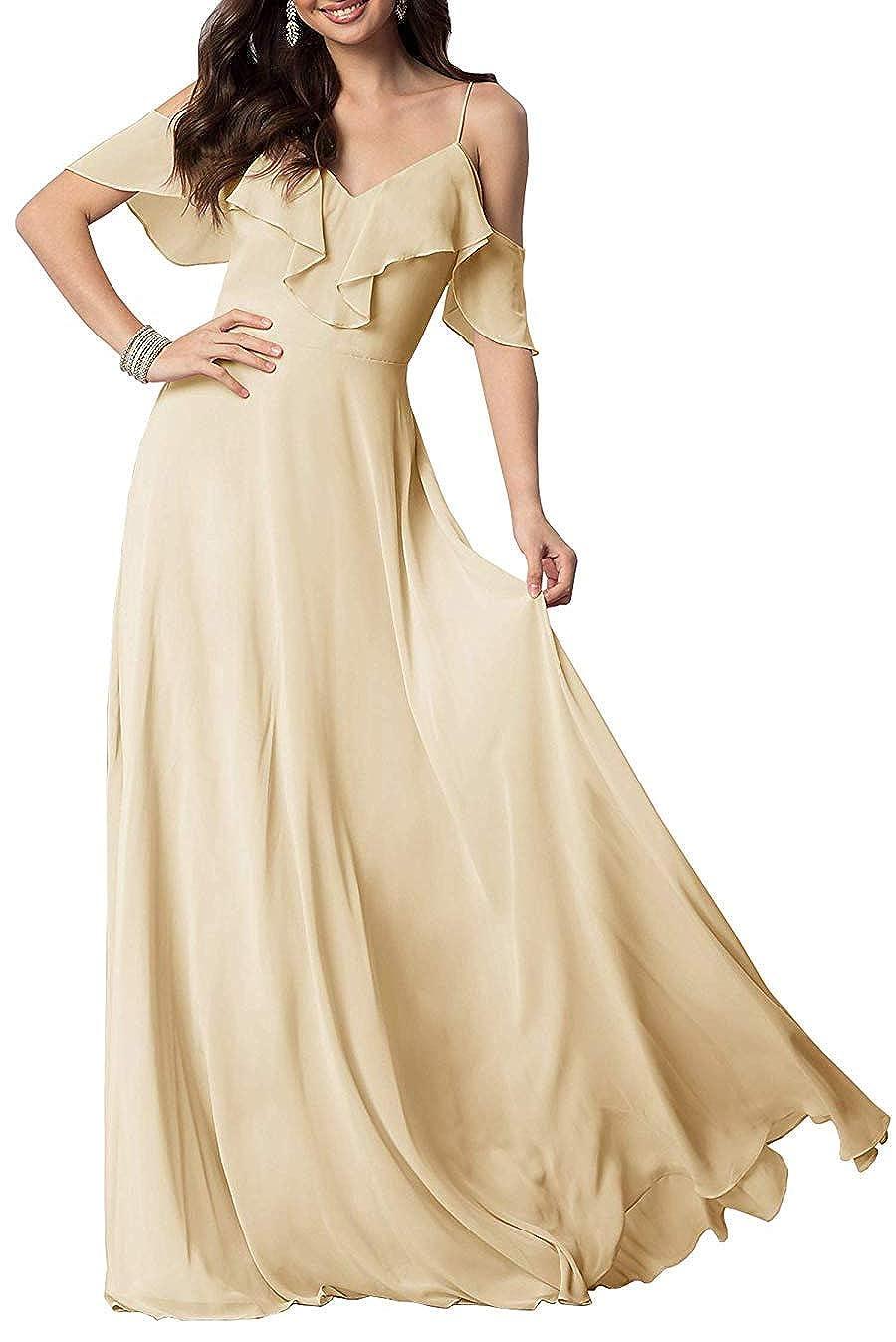 ChampagneA FeiYueXinXing VNeck Ruffled Spaghetti Strap Prom Dresses Long Formal Evening Gown