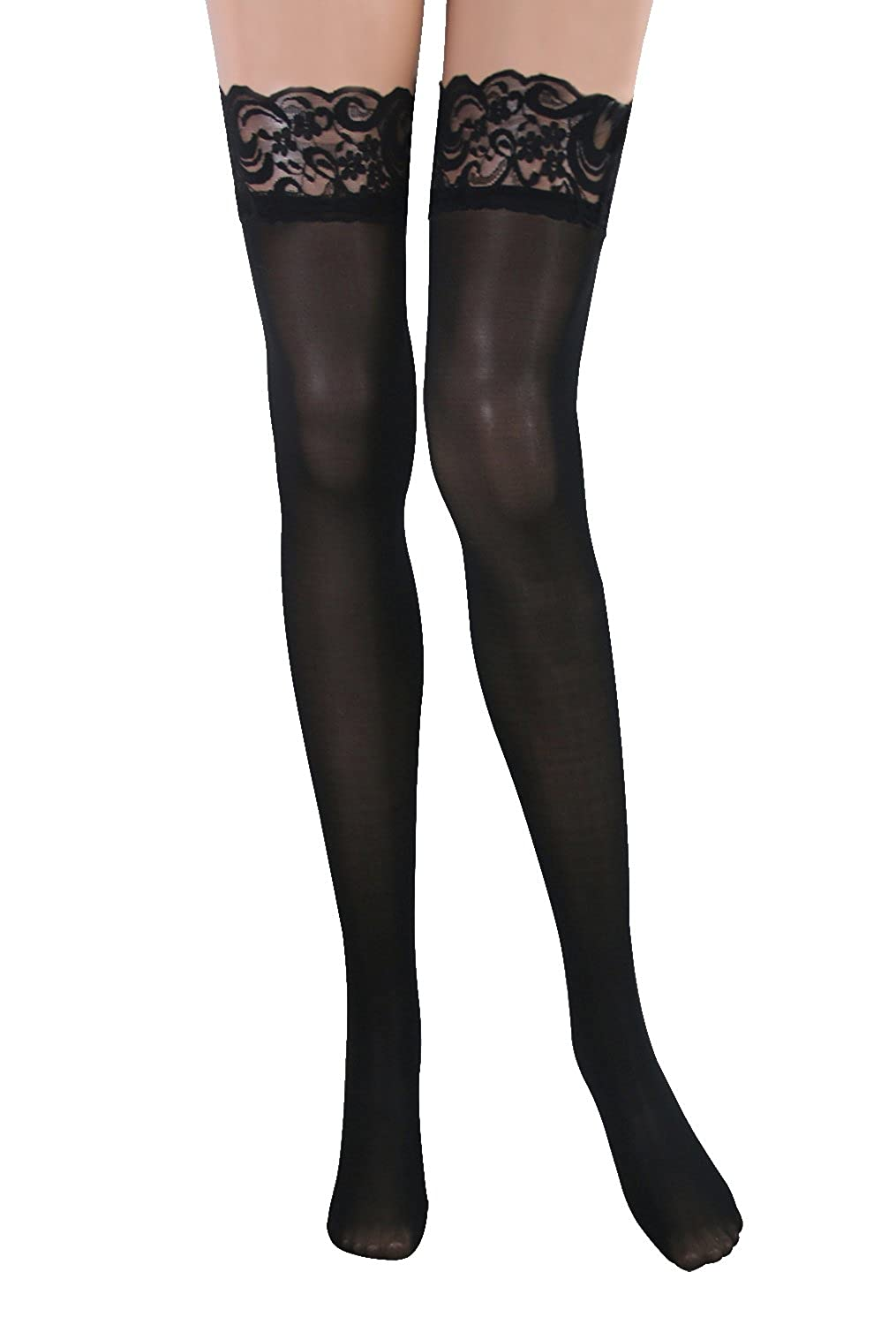 6036a0e76 Amazon.com  Kimring Women s Thigh High Stockings with Silicone Lace Top   Clothing