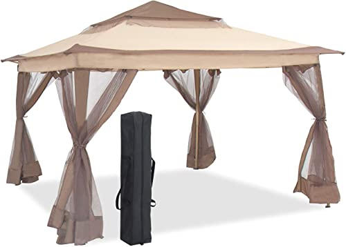 Aoxun 11 X 11 Pop Up Canopy Tent, Straight Leg Outdoor Gazebo with Mosquito Netting, Patio Gazebo Shelter with 121 Square Feet of Shade, Beige
