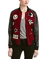 True Religion Women's Leather-Trim & Wool-Blend Varsity Jacket