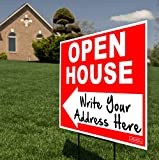 Large 24''x18'' - OPEN HOUSE w/Left or Right Arrow Yard Sign - Printed Front & Back + 24'' Metal Ground Stake