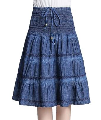 42c42a86ca Femirah Women's Smocked Waist Midi Denim Skirt Flare A Line Jean Skirt:  Amazon.co.uk: Clothing