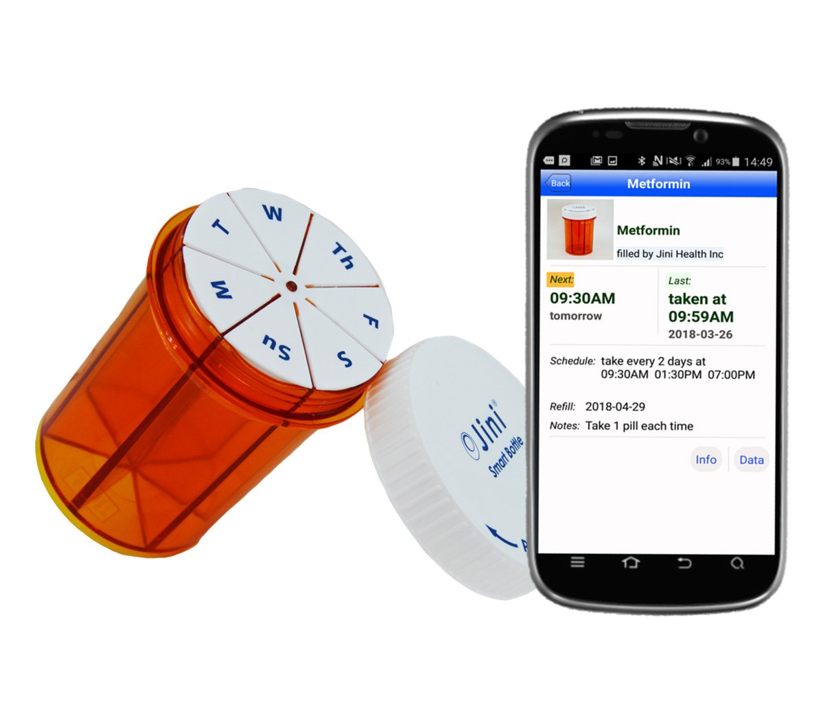 Jini Smart Weekly Pill Bottle Organizer with EZ-Minder - The Easiest Way to Setup Pill Reminders