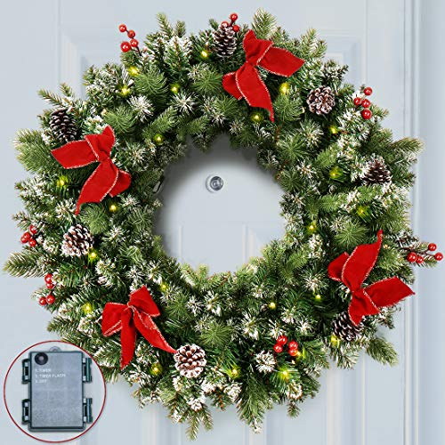 24 Inch Lit Snow Christmas Wreath LED Lights, Pine Cones, Red Berries, Red Bows
