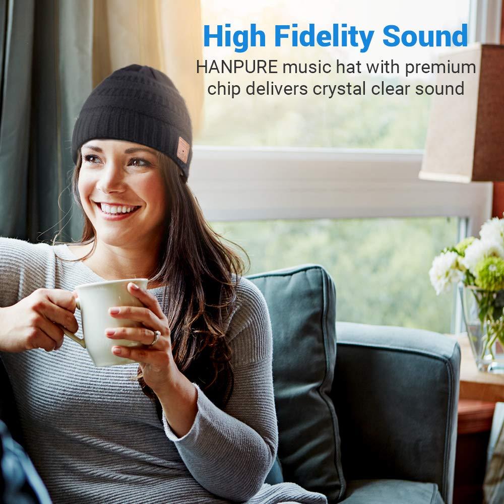 HANPURE Cappello Bluetooth Regali Natale Idee Regalo Donna Berretto Musica Bluetooth 5.0 Caldo e Morbido Cappello Microfono e Batteria Ricaricabile Cappello Donna Invernali con Cuffie Bluetooth
