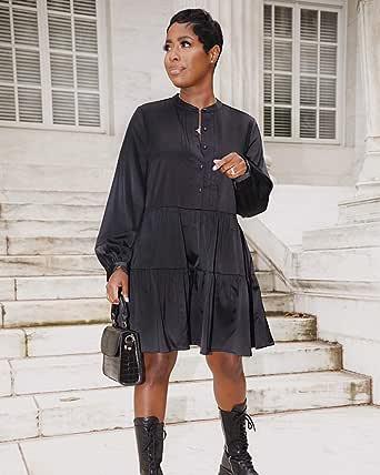 The Drop Minivestido para Mujer, de Corte Escalonado con Cierre de Botones Frontal, Negro, por @highlowluxxe