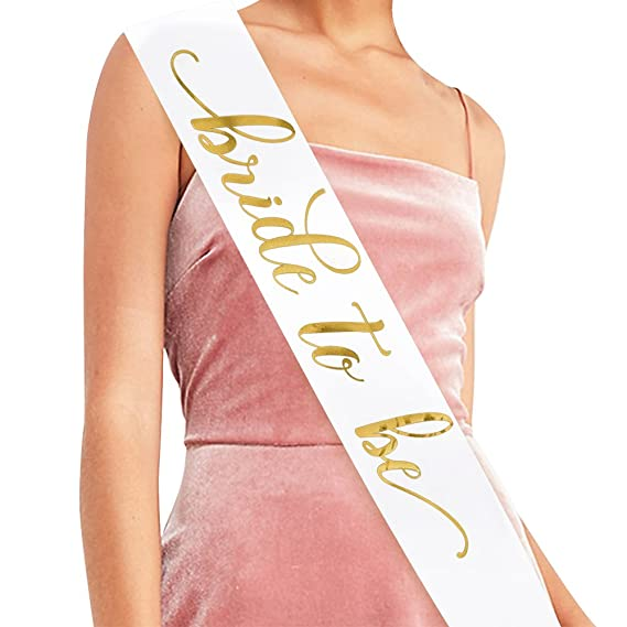 Bride To Be Sash Bachelorette Party Bridal Shower Wedding Decorations Bride Accessories Gifts White With Gold Lettering