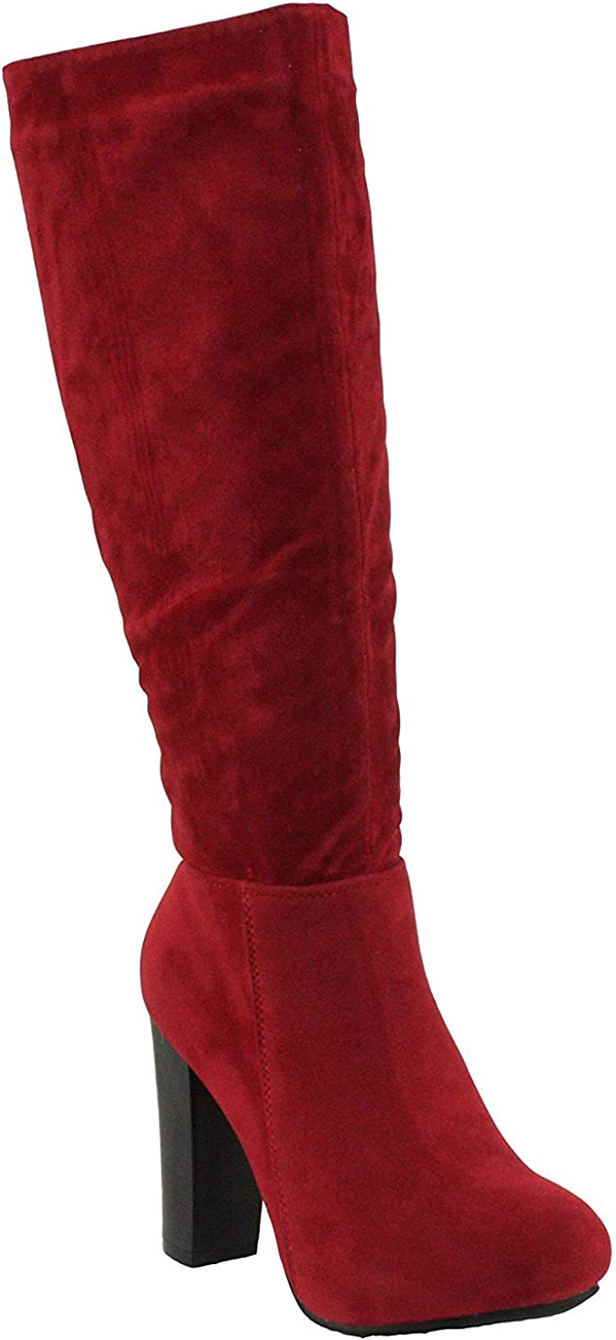 Refresh Women's Ringo-03 Knee High Side Zipper Closure Chunky High Heel Dress Boots Red 6.5 B(M) US