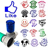 Set of 3 teacher stamp you pick image color homework praise school Self inking round rubber pre ink stamp 1.2'