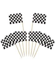 Palillos de Dientes con Bandera Blanco,100 Unidades Toothpick Flags Etiquetas Pequeñas para Magdalenas Decorar Tartas Bocadillos Cumpleaños Boda Fiesta de Bienvenida 3.5 * 2.5cm