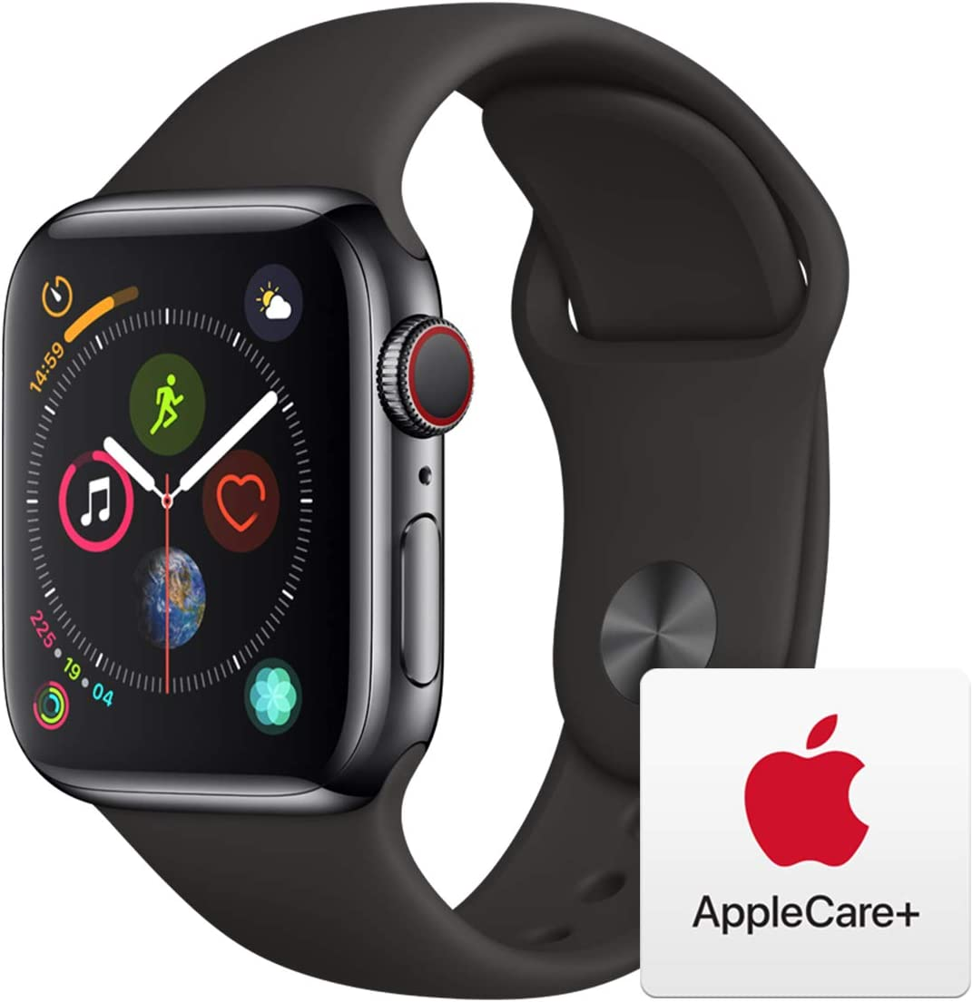 Apple Watch Series 4 (GPS + Cellular, 40mm) - Space Black Stainless Steel Case with Black Sport Band with AppleCare+ Bundle