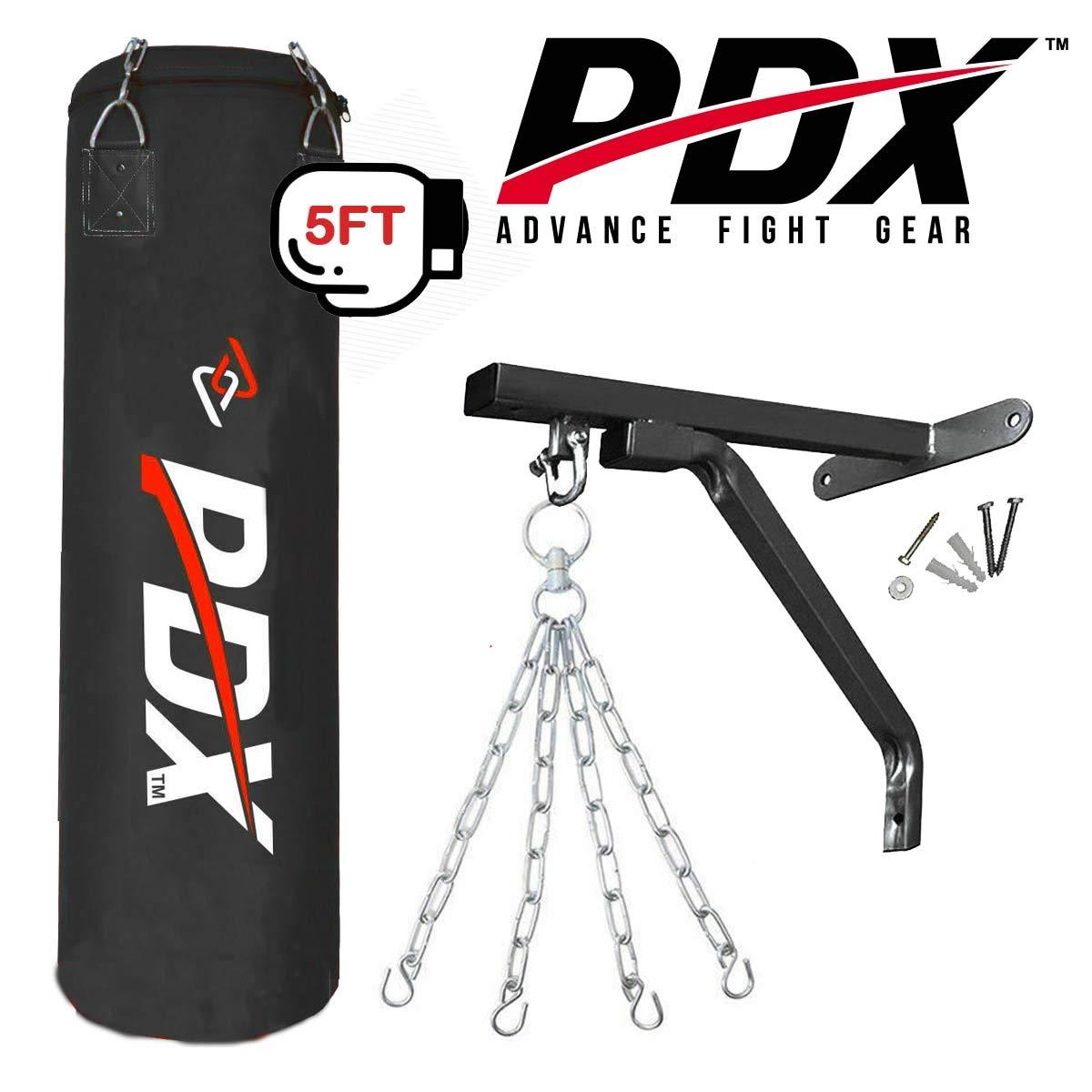 Color Negro PDX Sports Juego de Saco de Boxeo de 152 cm con Soporte para Colgar Guantes Rojo Rojo y Negro Resistente al Entrenamiento de Boxeo y Artes Marciales Verde Negro
