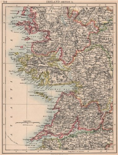 IRELAND WEST COAST. Galway Mayo Clare. River Shannon. JOHNSTON - 1906 - old map - antique map - vintage map - printed maps of Ireland