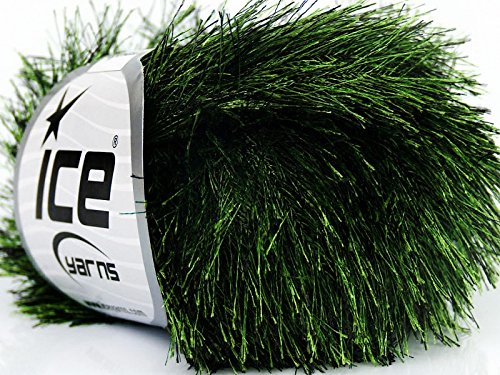 Evergreen Eyelash Yarn Ice Green & Black Fun Fur 50 gram