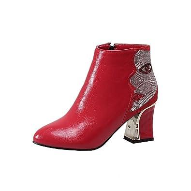 UH Damen Spitze Boots High Heels Blockabsatz Stiefeletten mit Strass und Fell 8cm Absatz Herbst Winter Schuhe