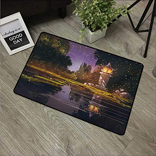 (Anzhutwelve Landscape,Indoor Floor Mats Idyllic Scenery at Night with a Stone Lantern Fireflies and Forest Trees Swamp W 16