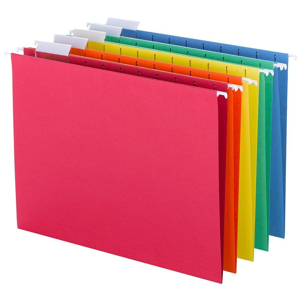 Smead Hanging File Folders, 1/5-Cut Tab, Letter Size, Assorted Primary Colors , 25 Count (6 Pack)