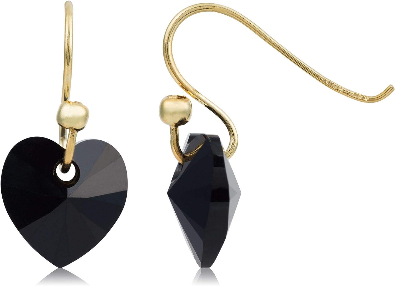 Córdoba Jewels | Pendientes en plata de ley 925 bañada en oro con cristales by Swarovski con diseño Corazón Swarovski Onix Gold
