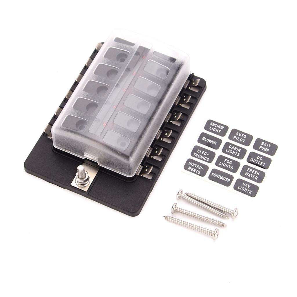 MagiDeal Caja 12 V/ías Titular de Fusibles con Fusible Luz Rojo kit 6V 12V 24V para Barco Coche