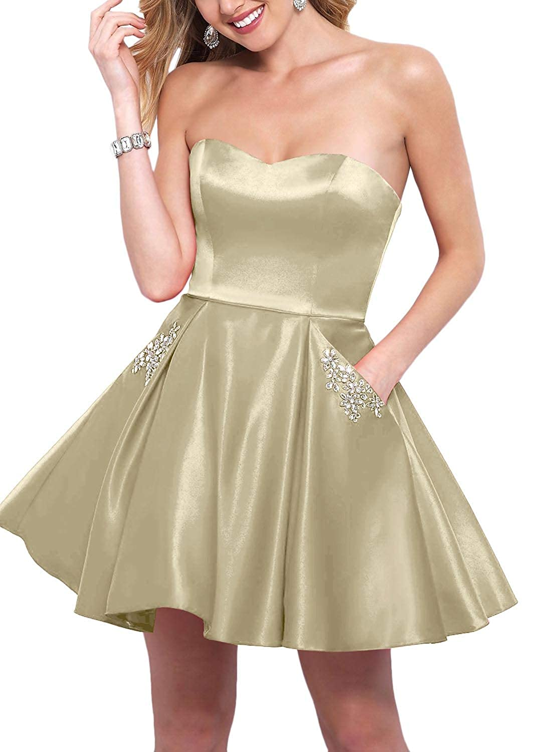 Champagne YnanLi Dress Short Ball Gown Homecoming Dresses 2019 Strapless Sweetheart with Beaded Pockets