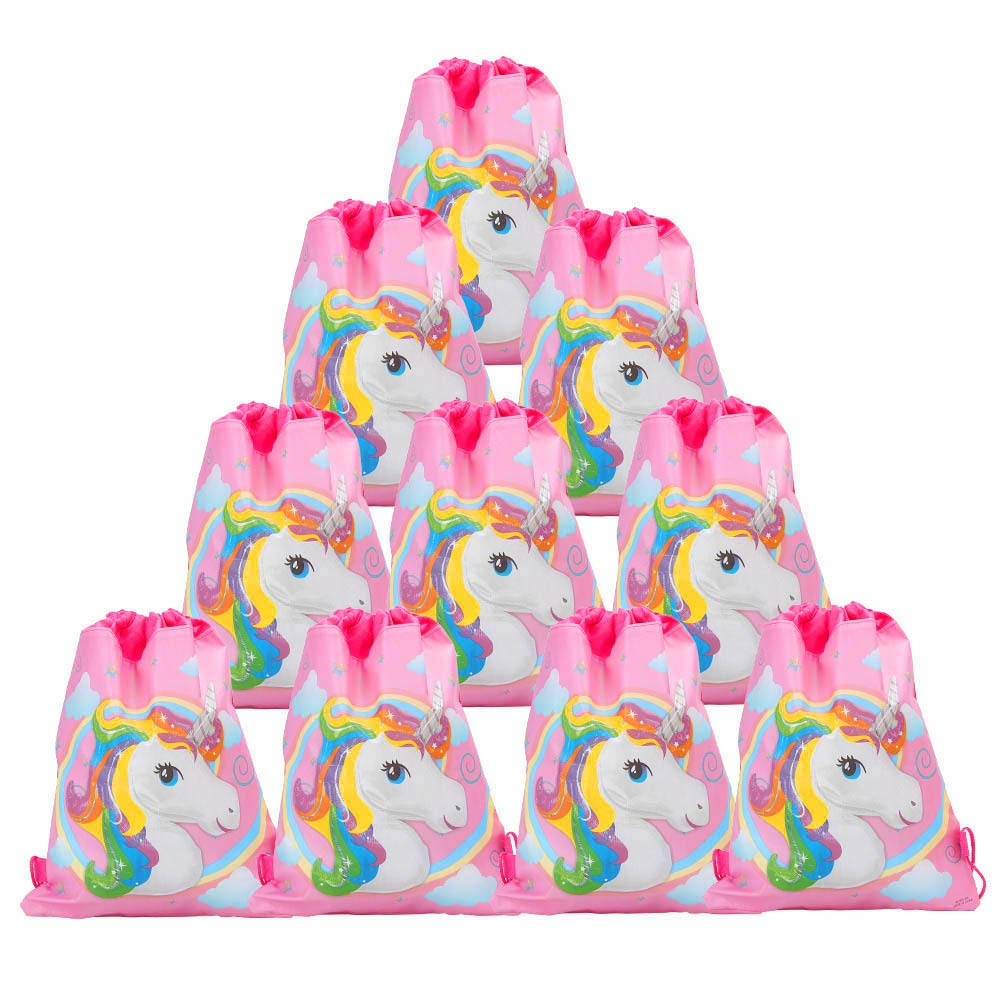 FYshun 12 Pack Unicorn Bags Cute Drawstring Party Bag for Unicorn Party Supplies