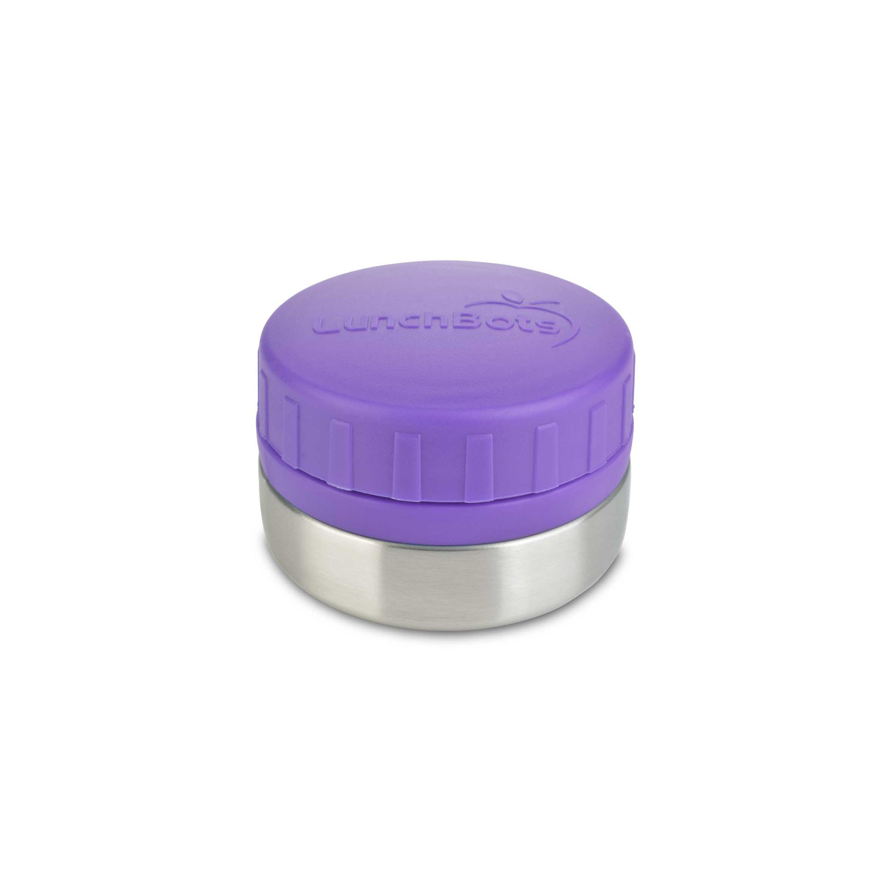 LunchBots Rounds Stainless Steel Food Container (4 oz) - Non-Insulated Leak-Proof Food Jar for Snacks, Dips, Fruits and Finger Foods - Eco-Friendly, Dishwasher Safe and BPA-Free - Purple