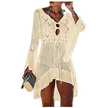 f5ed1ab4aa3c6 Women Bathing Suit Cover Up Bell Sleeve Hollow Out Lace Crochet Swimsuits  Bikini Cover Ups Summer