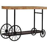 vidaXL Solid Mango Wood Console Table Bottom Shelf Entryway Hallway Side Table Living Room Organiser Decorative Wheel…