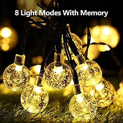 BrizLabs Solar Globe String Lights, 2 Pack 30 LED Solar Powered Crystal Ball Light 8 Modes Waterproof Outdoor Fairy Lighting for Garden Home Patio Lawn Landscape Tree Holiday Decorations, Warm White