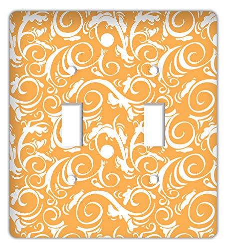 Damask Trendy Printed Double Switchplate Cover, Orange ()