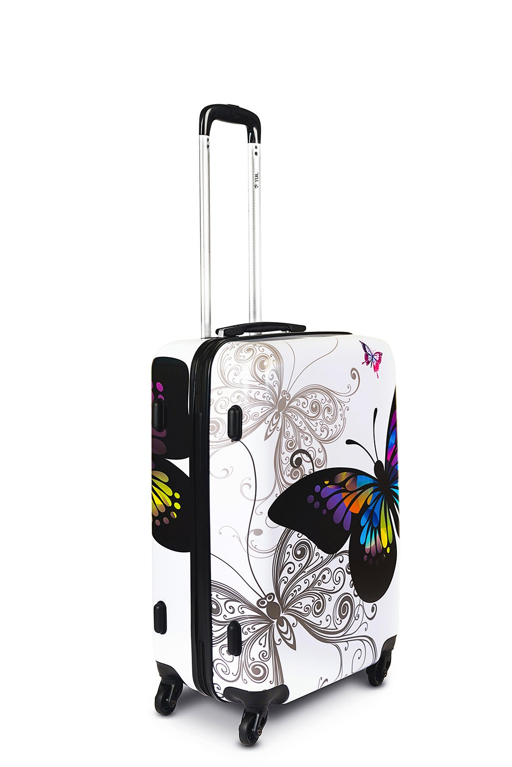 YUL Canada Brand Lightweight Hardside Spinner Luggage TSA Printing Collection (Butterfly, 20-inch Carry-on Size)