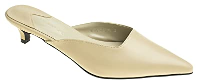 adb9bf94527 AnnaKastle Womens Pointy Toe Low Kitten Heel Mule Slide Chic Dress Sandal  Shoes Beige