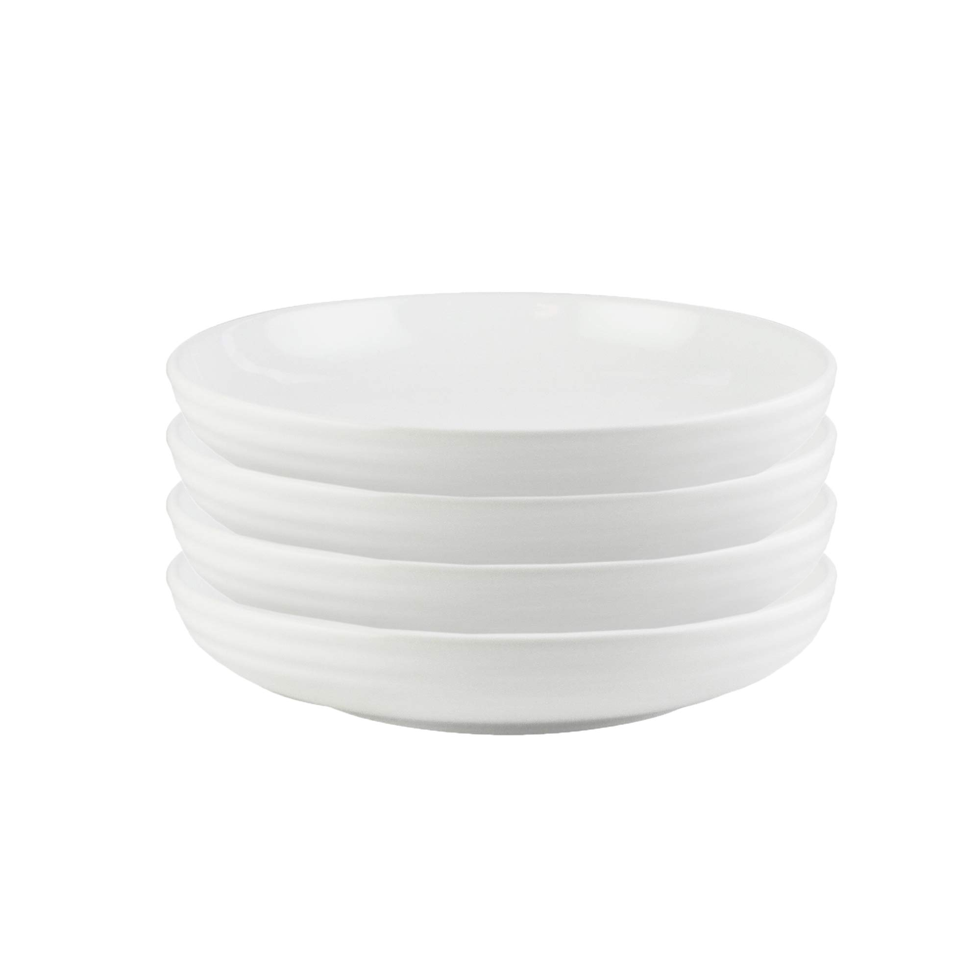 American Atelier Pasta Bowls White Earthenware Finish 8.5 Inch Set of 4 - Dishwasher & Microwave Safe Great Kitchen Home Use for Serving Soup Salad & More
