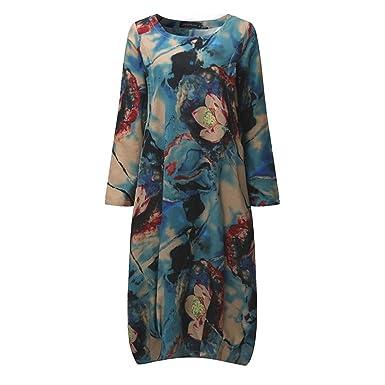 Women Vintage Sleeve Print Summer Midi Dress Loose Mid-Calf Length Vestidos