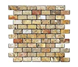 Scabos 1 X 2 Tumbled Travertine Brick Mosaic Tile - Box of 5 sq. ft.