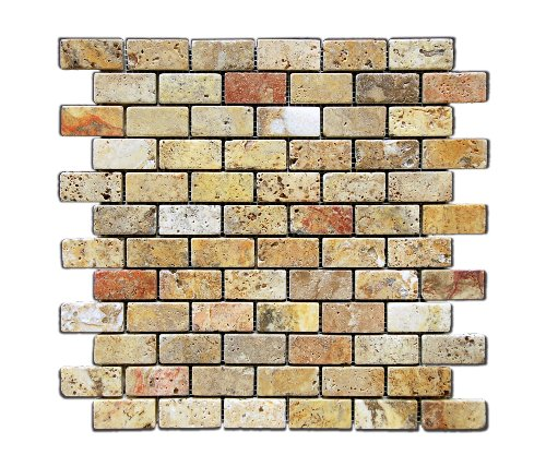 Scabos 1 X 2 Tumbled Travertine Brick Mosaic Tile - Box of 5 sq. ft. by Oracle Tile & Stone