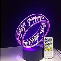 Herr Der Rings 3D illusie bureaulamp 7 kleuren 3D-lamp kinderen geschenk touch nachtlampje voor kinderen vakantie…