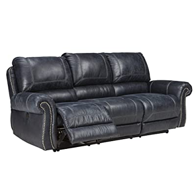 Ashley Furniture Signature Design - Milhaven Faux Leather Upholstered Reclining Power Sofa - Contemporary - Navy