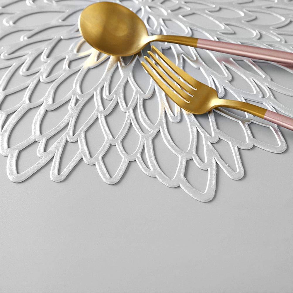 4 Pezzi Tovagliette Rotonde Metalliche Tovaglietta da tavola Antiscivolo Tappetini isolanti in plastica PVC Sottobicchieri Globaldream Tovagliette Rotonde scavate
