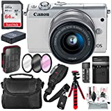 Canon EOS M100 Mirrorless Camera w/ 15-45mm Lens & WiFi (White) + 64GB + Battery & Charger Replacement + Flex Tripod + Deluxe Bundle