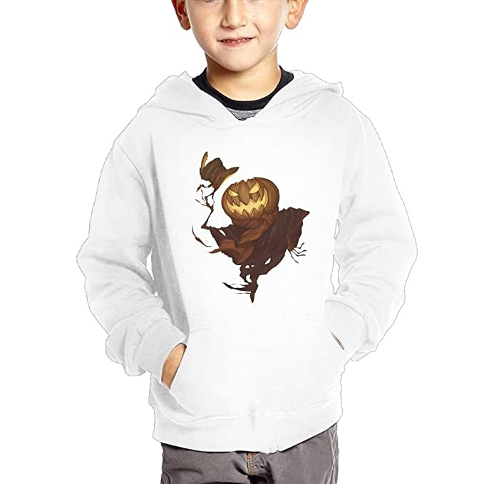 Anutknow Pumpkin Scarecrow Pattern Childrens Fashion Casual Hooded Pocket Sweater