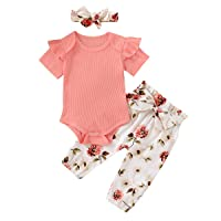 Newborn Baby Girl Ribbed Romper Top Floral Pants Headband 3PCS Ruffled Outfit Set