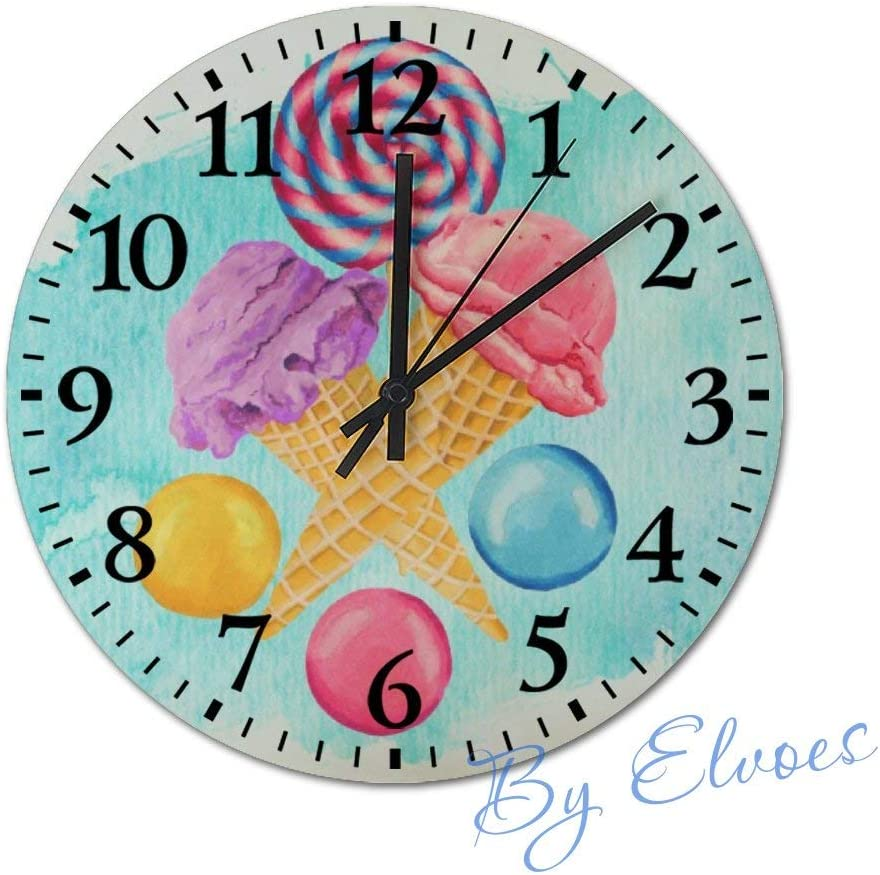 Wood Clocks 12'' Round Wooden Wall Clock Silent Non-Ticking Easy to Read Decorative for Living Room Bedroom Home - Ice Cream Lollipop and Candy