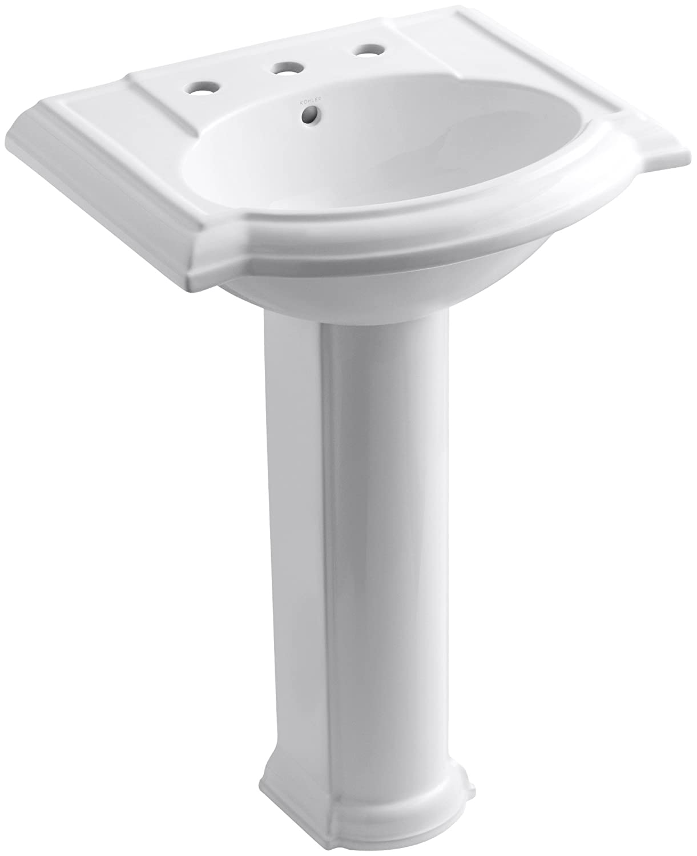 White bathroom sinks - Kohler K 2286 8 0 Devonshire Pedestal Bathroom Sink With 8 Centers White Pedestal Sinks Amazon Com