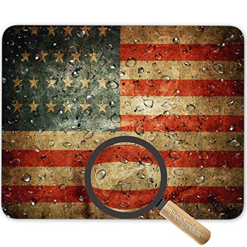 Water Drops on Vintage Retro US American Flag Photo Background Mouse Pad, HD Bright Colors Gaming Mouse Pad Custom Design Mat